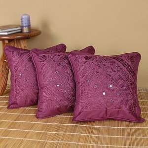Silk Embroidered India Pillow Cushion Covers (Set of five