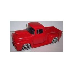 Jada Toys 1/24 Scale Btm 1956 Ford F 100 with Hood Scoop in Color Red