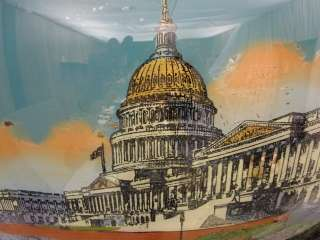 Reverse Painting Bubble Glass USA Capitol Building 1916 |