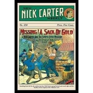 Vintage Art Nick Carter Missing A Sack of Gold   Giclee