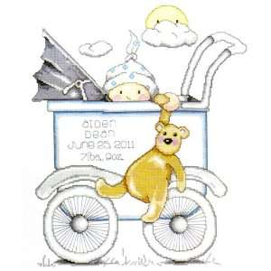 Counted Cross Stitch Kit Boy Baby Buggy Sampler From Tobin Baby: Baby