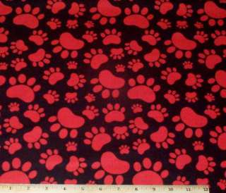Paw Prints Dogs Pound Hounds Red Black yds RJR Sue Marsh