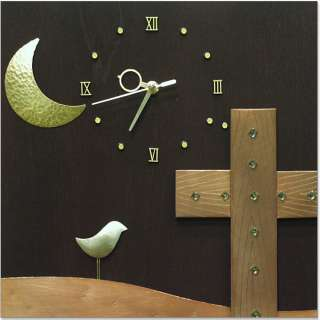 Wood&Bronze Wall Clock / Cross Clock / Artist Works