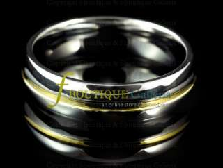 Raja SILVER & GOLD TONE TUNGSTEN CARBIDE RING 6MM BAND