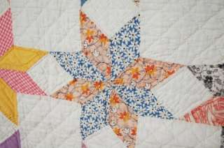30s Touching Stars Hand Stitched Antique Quilt ~Nice Vintage Fabrics