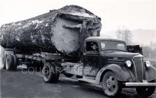 CHEVROLET LOGGING TRUCK WITH HUGE LOG 2 TRUCK DRIVERS 1939 PACIFIC