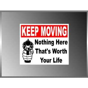 Keep Moving Warning Sign Pro Gun Funny Vinyl Decal Bumper Sticker 5 X