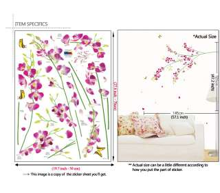 TROPICAL ORCHID ★ Flower Art Wall STICKER Vinyl Decals