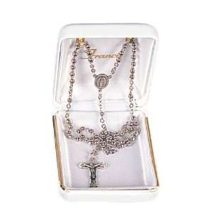 Baptismal Rosary   3mm Rhodium Plated Beads   12 Chain