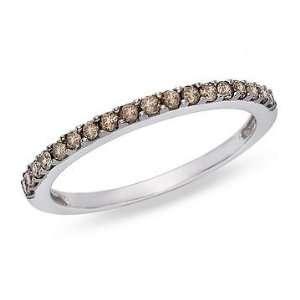 1/4 Carat Brown Diamond 14K White Gold Ring w/Black