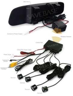 Wireless Rear View Mirror 4 Parking Sensors Car Reversing Kit + Backup