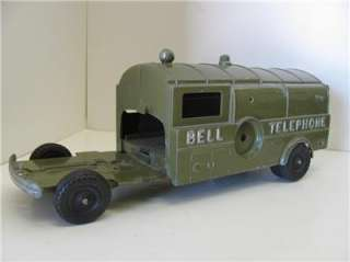 Old Vtg 40s Hubley Bell Telephone Utility Truck Toy Die Cast
