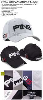 NWT Ping Tour Structured Golf G15 Fitted Cap Hat Pearl S/M 56cm MSRP $