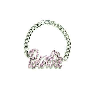Nicki Minaj Barbie Iced Out ID Style Bracelet Silver With