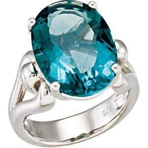 Amazing Genuine Blue Oval Cut Flourite Ring set in Sterling Silver for