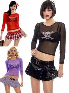 Gothic Punk Rave Club Skull Crossbone Fishnet Shirt Crop Top