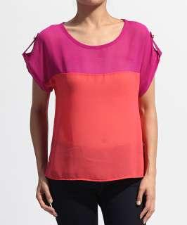 Dolman Sleeve COLORBLOCKED BLOUSE Modern Sheer Crepe Shirt Top