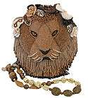 MARY FRANCES Hear me Roar Brown Lion Evening Bag Beaded NEW Purse Bead
