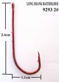 100X High Quality Long Shank Baitholder Fishing Hooks RED Size 2