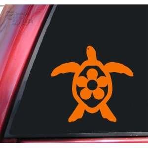 Flower Honu Hawaiian Sea Turtle Orange Vinyl Decal Sticker