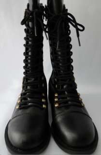 Runway Vintage Military Flat Lace Zip Up Ankle Boots