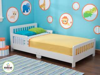 New White Wooden Kids Toddler Bed Slatted Low Crib Mattress Bedroom