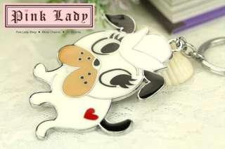 Z175 Cute White Love Puppy Dog Silver Tone Big Keychain