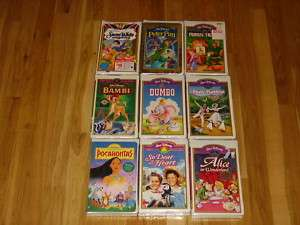NEW DISNEY MASTERPIECE VHS MOVIE LOT BAMBI PETER PAN ROBIN HOOD DUMBO