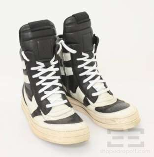 Owens Black & White Leather Mens High Top Sneakers Size 43