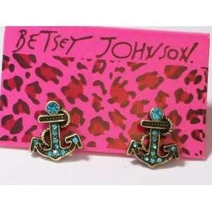 BETSEY JOHNSON Blue Crystal Anchors Stud Earrings
