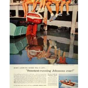 1957 Ad Sweetest Running Johnson Motor Boat Javelin Sea