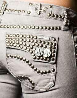 Laguna Beach Jeans Womens GGG Gray denim w/ STUDS Straight **SAMPLE