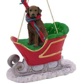 NEW CHESAPEAKE BAY RETRIEVER DOG SANTA SLEIGH CHRISTMAS ORNAMENT