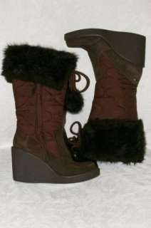Brown Quilted Nylon Faux Fur Collar Winter Boots Womens 7.5