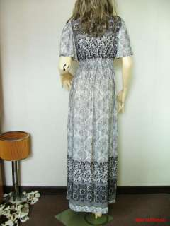 Vtg 60s Bell Caftan Boho Lace Beaded Hippie Maxi Dress