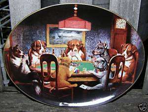 RARE FRANKLIN MINT DOGS PLAYING POKER CARDS PLATE