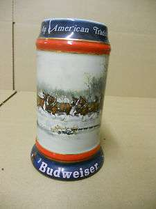 Budweiser beer collector stein 1990 clydesdales mug horses holiday
