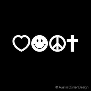 LOVE SMILE PEACE CROSS Vinyl Decal Sticker   Christian