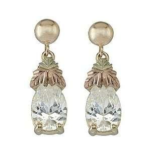 Black Hills Gold White CZ Earrings Jewelry