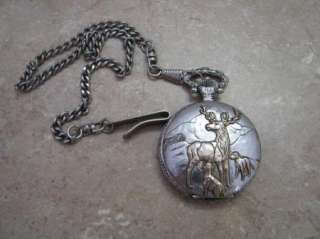 Concepts POCKET WATCH Silver Tone DEER/DOGS Hunting