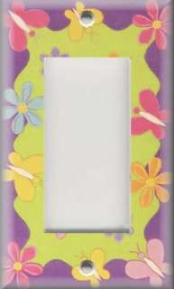 Light Switch Plate Cover   Kids Room   Girls   Butterflies And Flowers