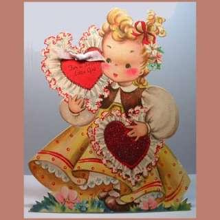 LARGE Vintage Valentine Card HALLMARK Doodles GLITTER