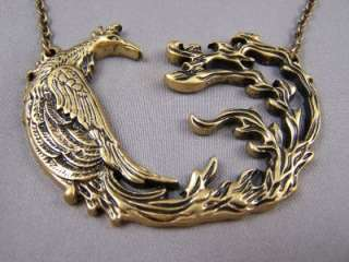 Phoenix Bird Fire Flame Tail Re Birth Necklace Antiqued Gold tone
