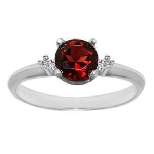 1.01 Ct 3 Stone Red Garnet Diamond 14K White Gold Ring