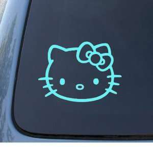 HELLO KITTY FACE   5.5 BABY BLUE Decal   Cat Feline   Car
