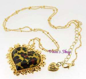 BETSEY JOHNSON Jewelry Leopard heart Necklace,come in gift box