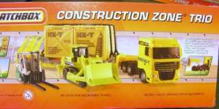Matchbox Construction Zone Trio Big Rig Hauler, Bulldozer, Fork Lift