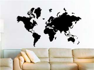 Big Global World Map Atlas Vinyl Wall Art Decal Sticker