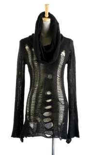 PUNK VISUAL KEI M012 CYBER BLACK RAGGED STYLE SWEATER M