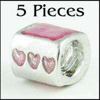 5pcs Pink Bingo Love Heart Silver Enamel Bracelet Charms European